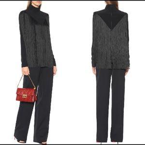 Givenchy Mock Neck Fringe Blouse Size 44